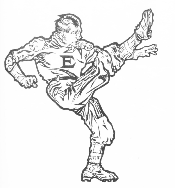 A black line drawing of a football player wearing a vintage uniform Opens in new window