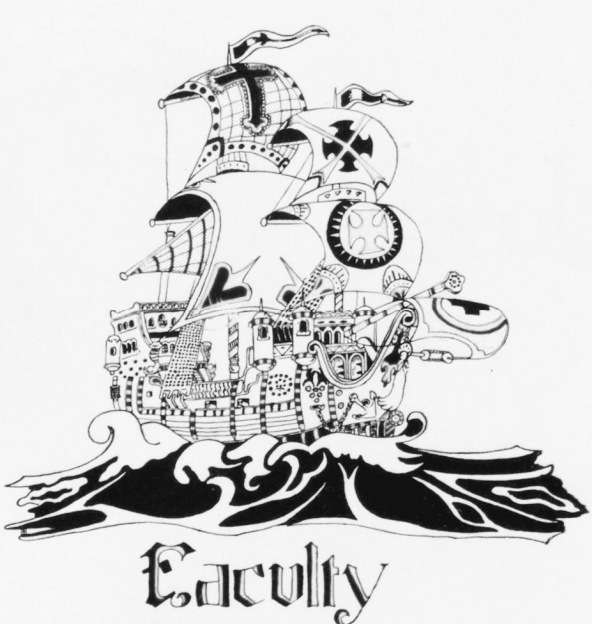 Cartoonish drawing of a pirate ship with the word 'Faculty' written under it. Opens in new window