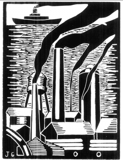 Black and white linocut image showing a factory scene in the foreground, and a nautical theme with b Opens in new window