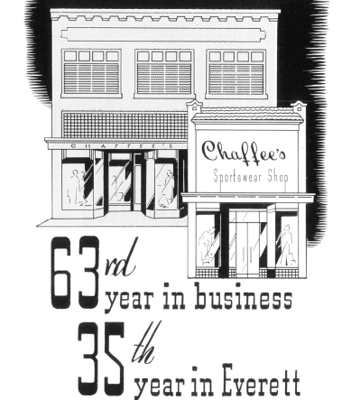 Black and white drawing shows two storefronts with the caption ඇrd year in business - 35th year Opens in new window