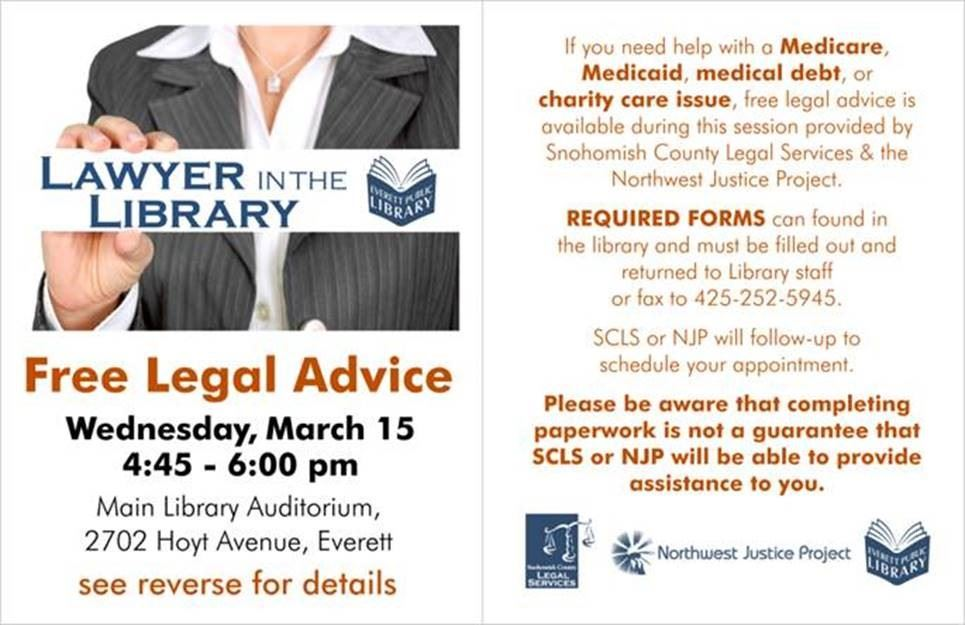 Free Legal Advice, Wed. Mar. 15, 4:45 - 6 PM, Main Library Auditorium, If you need help with a medic