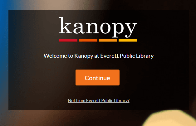 Screenshot of kanopy page with orange continue button