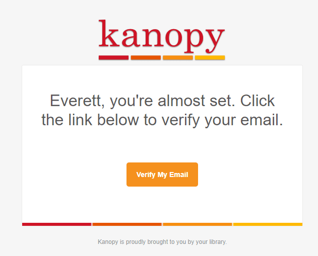 screenshot of registration process for Kanopy account creation