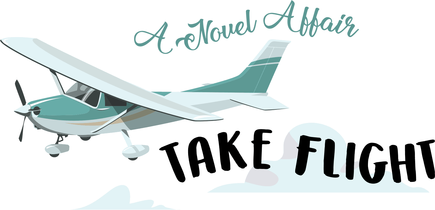 image of small single prop plane in flight with words 'A Novel Affair Take Flight' near the im