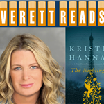 Everett Reads logo with portrait photo of Kristin Hannah and book jacket of 'The Nightingale'